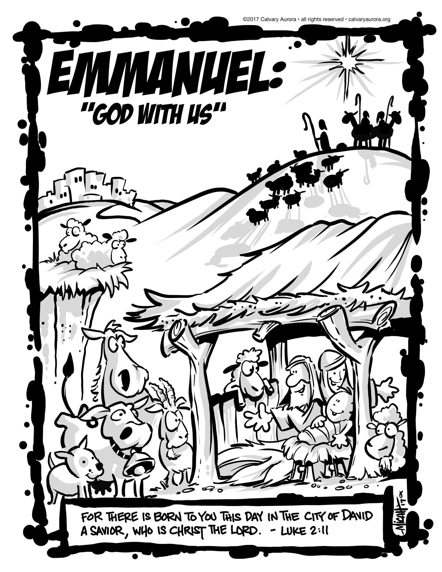 kids christmas emmanuel coloring page